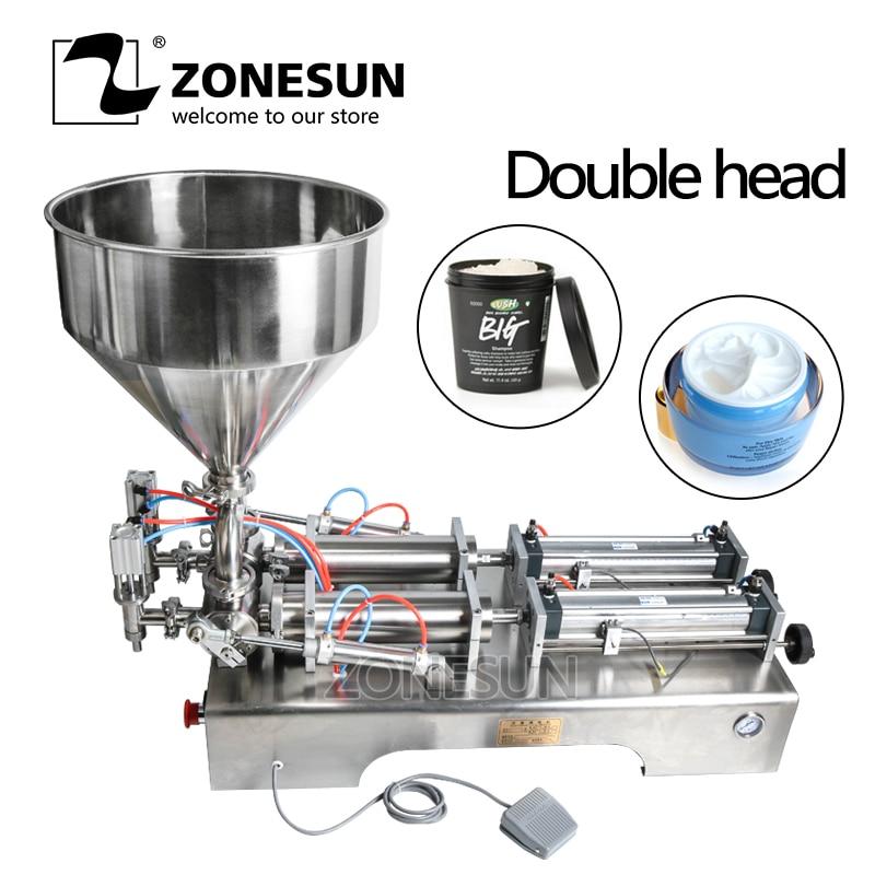 ZONESUN Double Heads Filling Machine Automatic Pneumatic Hopper Cream Shampoo Moisturizer Lotion Honey Food Paste