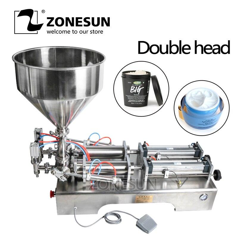 ZONESUN doble cabeza máquina de llenado automático neumático tolva crema champú loción hidratante aceite cosmético miel pasta de alimentos