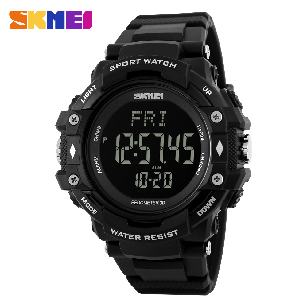SKMEI Men Sports Health Watches 3D Pedometer Heart Rate Monitor Calories Counter 50M Waterproof Digital LED Wristwatches 1180 pedometer heart rate monitor calories counter led digital sports watch skmei fitness for men women outdoor military wristwatches