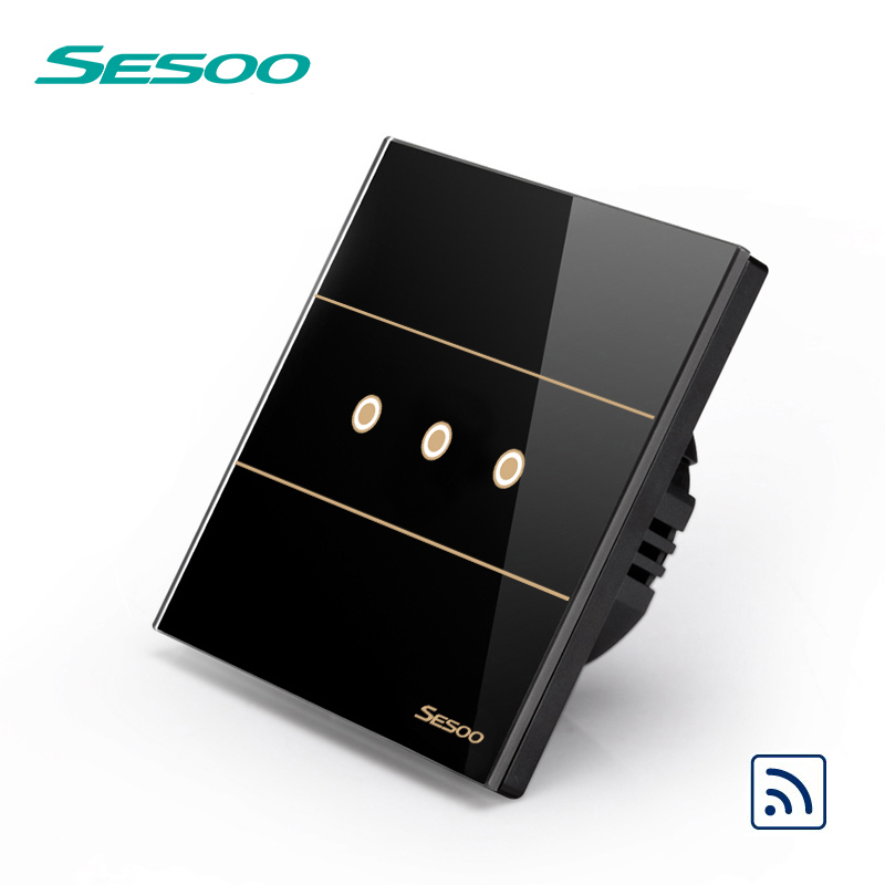 SESOO Remote Control Switches 3 Gang 1 Way, SY5-03 Black, Wall Touch Switch,Crystal Glass Switch Panel eu type sesoo touch remote switch 3 gang 1 way crystal glass switch panel single firewire touch sense wall switch rf433 control