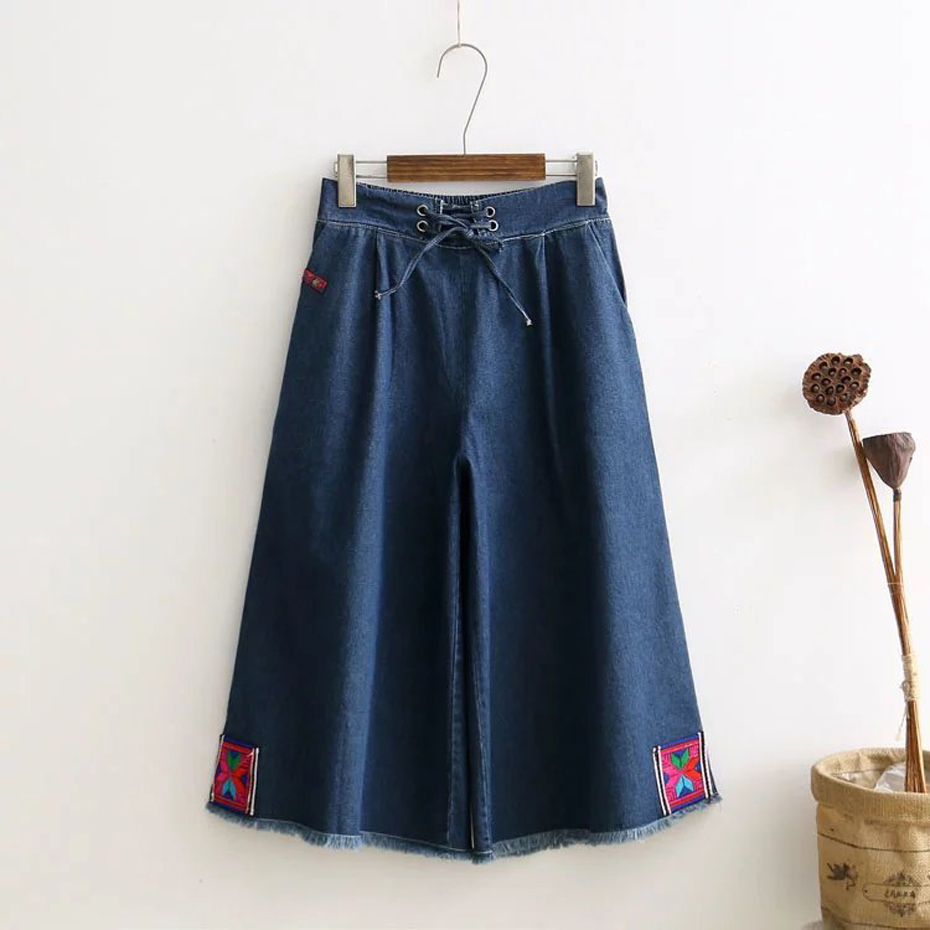 Women's Pants Denim Wide Leg Jeans Capris Jeans Loose Oversized Casual Haren Pants Trousers 1454 plus size side stripe wide leg blue capris jeans 4xl 7xl oversized tassel irregular fringe ankle length denim pants