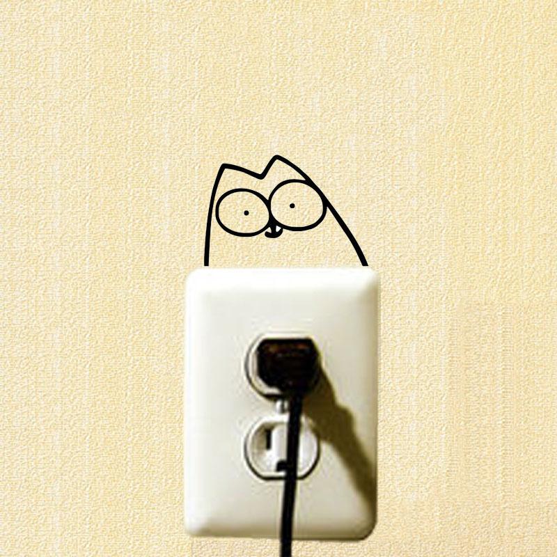 simon gato del interruptor sticker decoracin tatuajes de pared del vinilo divertido de dibujos animados populares