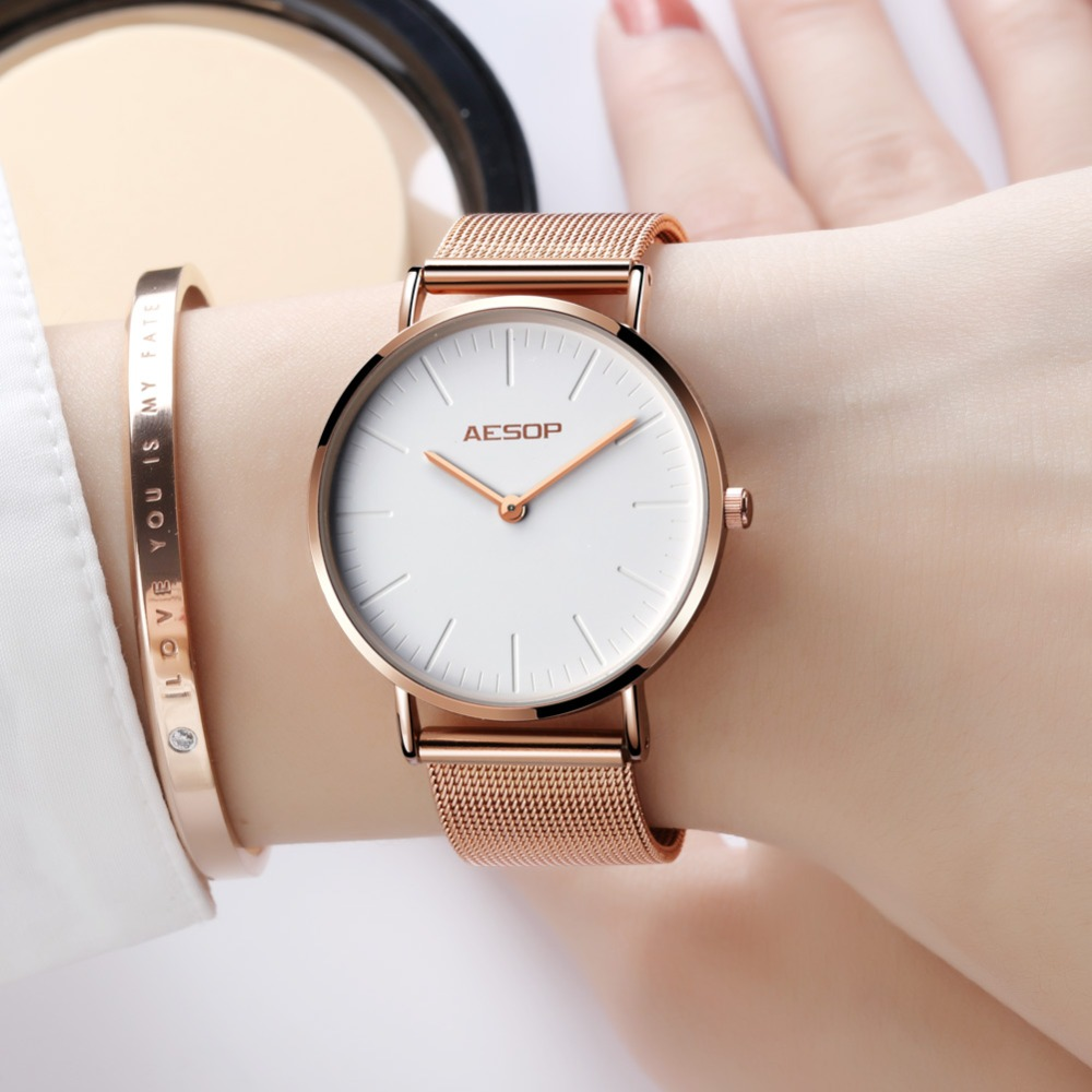 AESOP Brand Woman Watches Rose Gold Steel Strap Ladies Watch Water Resistant Simple Style Quartz Wristwatch Relogio Feminino New fashion brand v6 quartz women watches rose gold steel thin case classic simple dial leather strap ladies watch relogio feminino