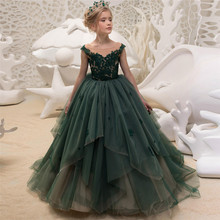 New Elegant Luxury Green Flower Girls Dresses Long Little Pageant Ball Gowns Lace Prom for Party Weddings G504