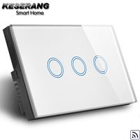 KESERANG Smart Home 3 gang Wireless Light Switch,RF 433Mhz Remote Switch for water heater,US/AU Standard Crystal Glass,no remote