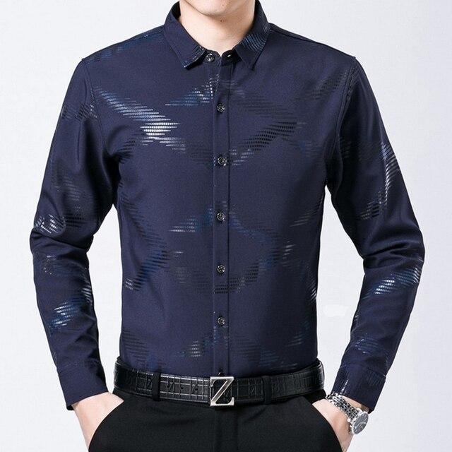 Luxury Brand plus velvet warm Men's Shirt Casual slim long sleeve Camisa homme 2016 winter new business male dress shirts