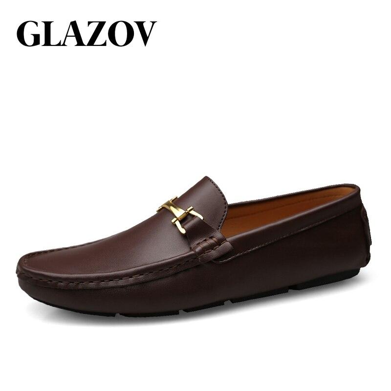 GLAZOV Italien Hommes Chaussures Casual Marques Slip Sur Formelle De Luxe Chaussures Hommes Mocassins Mocassins Véritable Cuir Brun Chaussures de Conduite