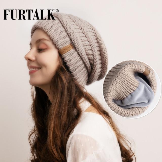 FURTALK Slouchy Beanie Winter Hat for Women Knitted Warm Fleece Lining Hat for Female Skullies Beanies Red Yellow Black Grey Cap