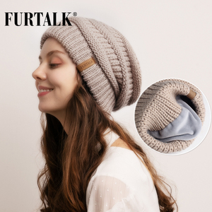 FURTALK Slouchy Beanie Winter Hat for Women Knitted Warm Fleece Lining Hat for Female Skullies Beanies Red Yellow Black Grey Cap(China)