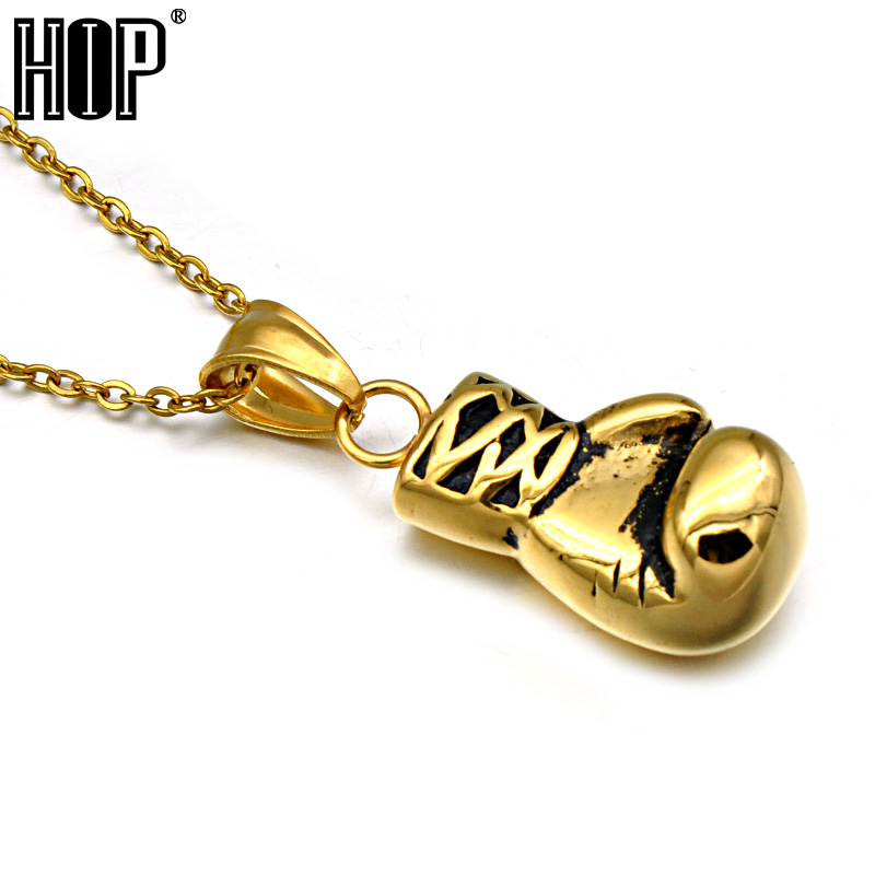 HIP Gold Color Stainless Steel Sports Fitness Boxing Gloves Pendants Necklaces for Men Jewelry
