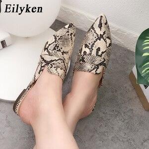 Image 4 - Eilyken Designers 2020 Spring/Autumn Sexy Leopard Flocked Slides Woman Flat Shoes Slip On Loafers Mules Flip Flops 35 42