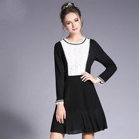 Black White Contrast Spliced Embroidery Dress Plus Size Women Clothing Party Dresses L To 4xl 5xl