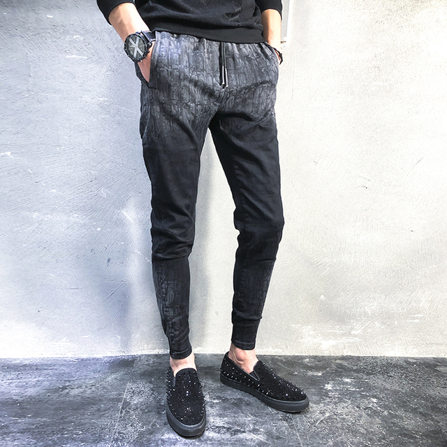 93a90cbc Fashion Designer Men Pants 2018 New Spring Casual Elastic Harem Pant Boys  Plus Size Student Print Men's Joggers Trousers 5XL-M