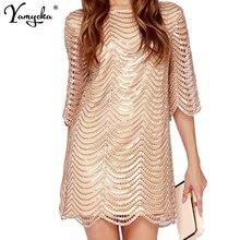 2018 Summer Sexy Loose Black Gold Sequin Dress Women Runway High Street Mini Luxury Nightclub Party Dresses Vestidos Wholesale