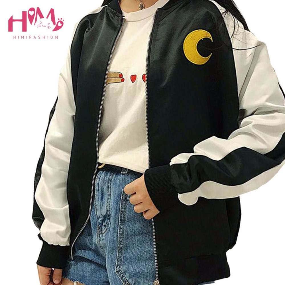 Japanese Soft Sister Preppy Style Sailor Moon Cartoon Embroidery Coats Harajuku BF Cute Cardigan Spring Women Bomber jackets2017