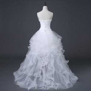 Image 5 - 2020 Top Selling Front Short Long Back Wedding Dress Cheap Chinese Lace Wedding Gown Sweet Bride Dress With Tail Under 100 D83