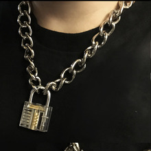 الرجال النساء للجنسين المعادن سلسلة المختنق قلادة الميكانيكية Steampunk شفاف واضح ساحة قفل و مفتاح المختنق طوق