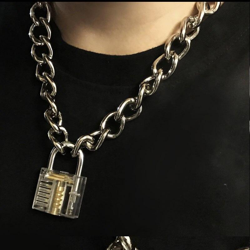 Männer Frauen Unisex Metall Kette Halsband Halskette Mechanische Steampunk Transparent Klar Quadrat Schloss und Schlüssel Choker Kragen