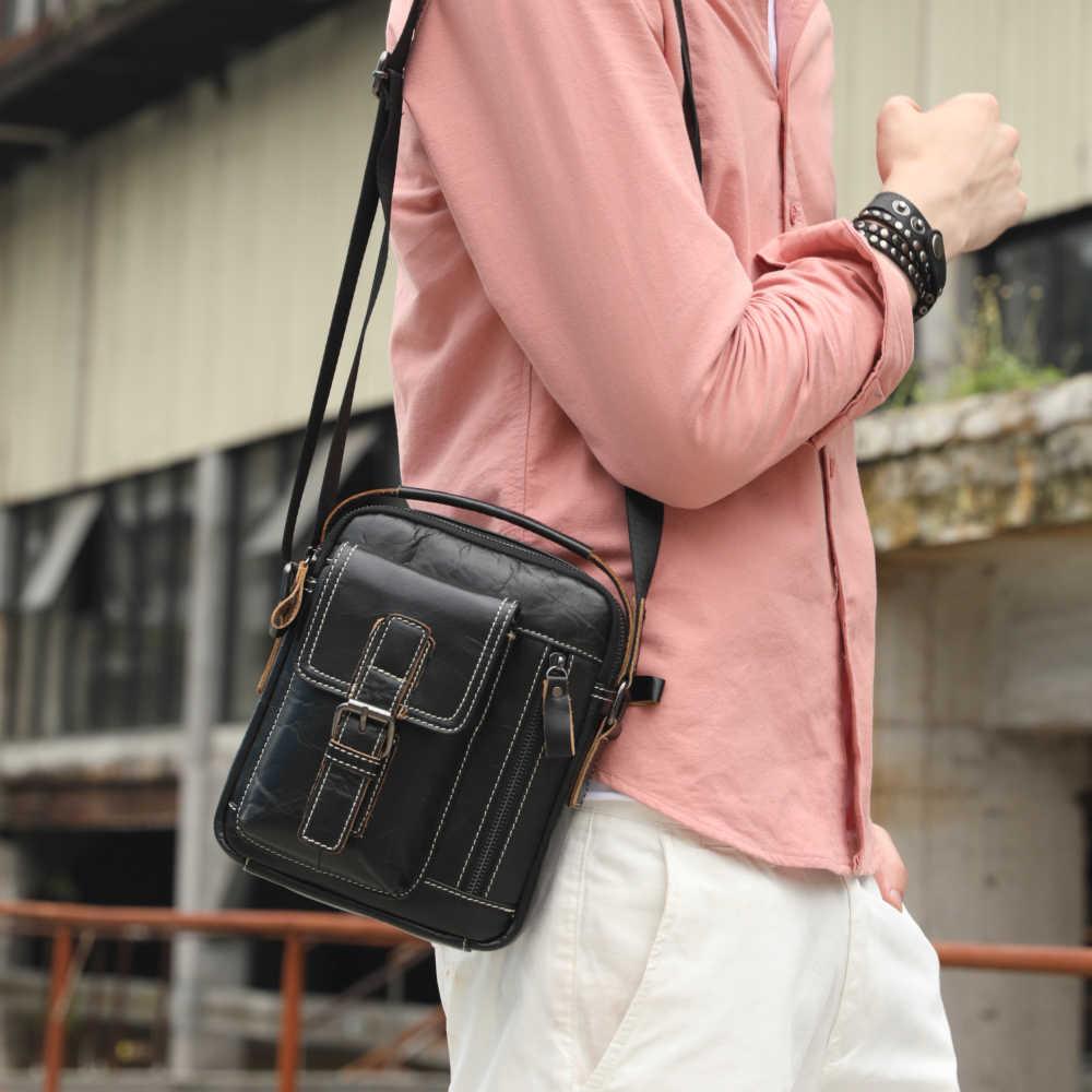 Homem de Couro Genuíno Sacos de Ombro de couro de vaca do vintage mini Messenger bag para o sexo masculino sacola Ocasional dos homens fivela de cinto bolsa