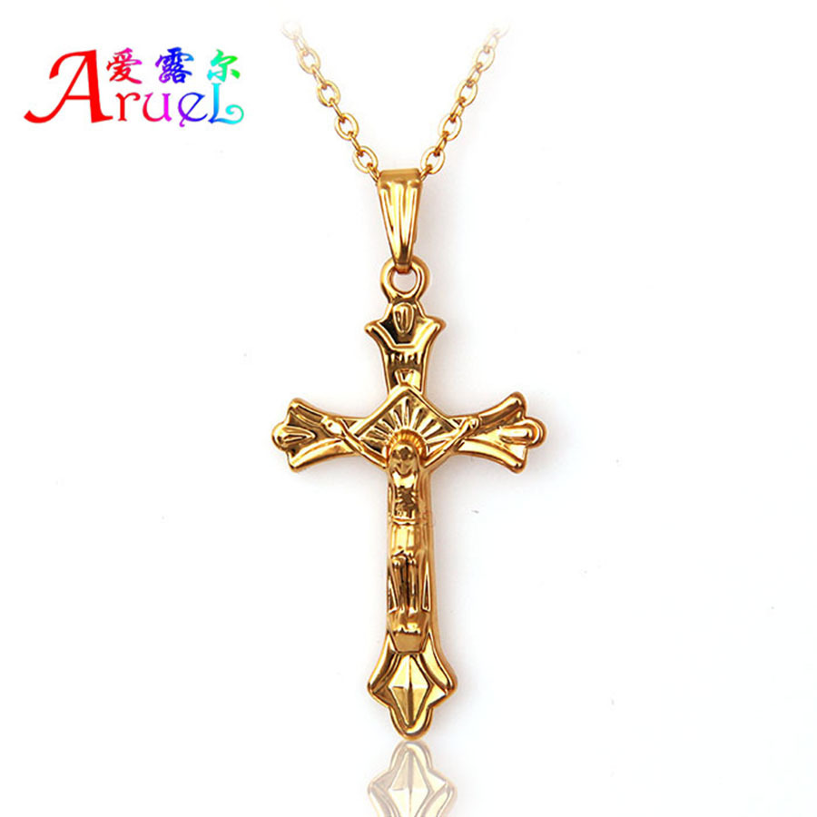 Gold color Jesus Crucifix pendant Necklaces for Women Men girls Gothic Cross christian fashion Jewelry charm necklace Love Gift