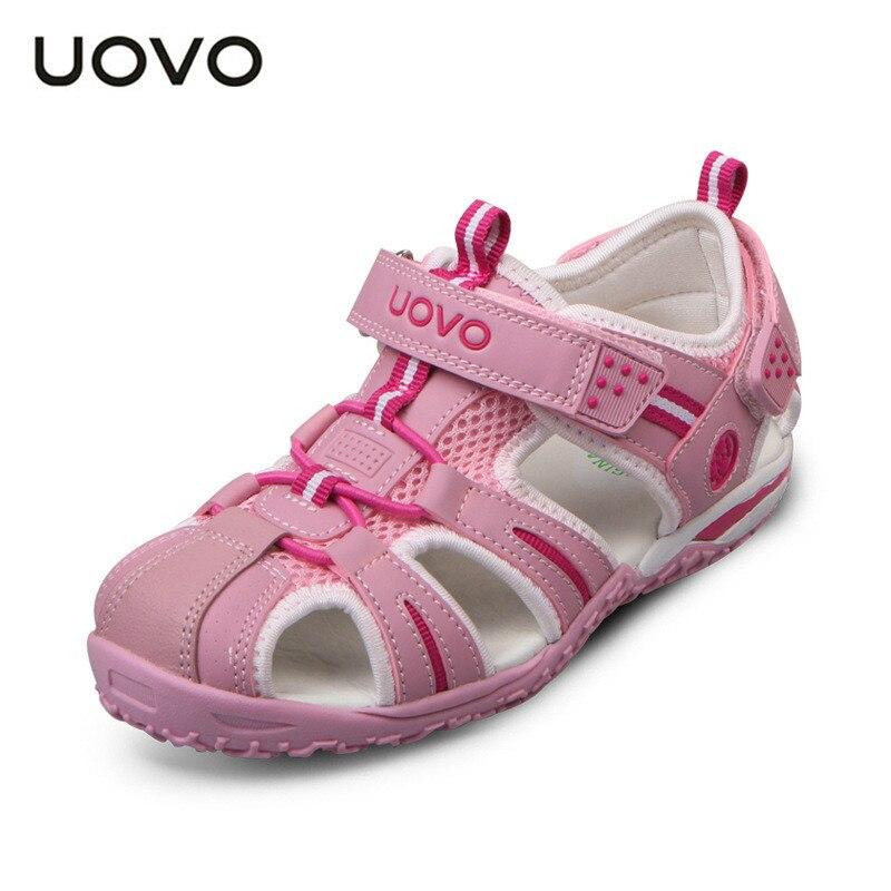 UOVO Children Shoes Girls Boys Sandals Summer Closed Toe Sandals for Kids Little Big Kids Beach Sandals Hook & Loop Size 24-38