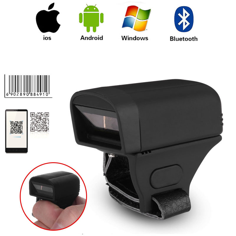 Bluetooth Ring 1D 2D Scanner Wireless Portable Barcode Reader Bluetooth Scanner IOS For Drugstore Logistics Warehouse