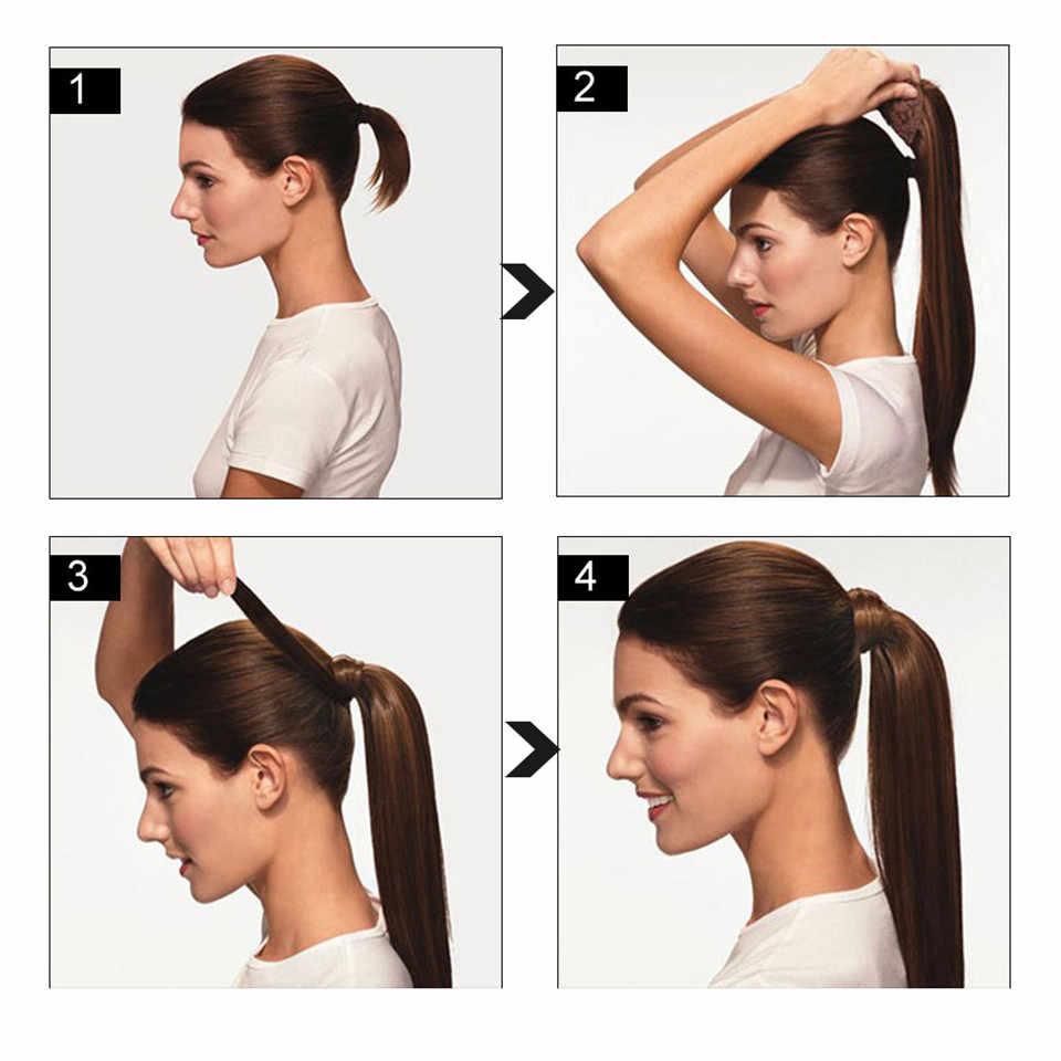 ยาวเปรูต่อผมหางม้าตรง Remy Hairpiece Magic Wrap รอบคลิปในหางม้าสำหรับผู้หญิง