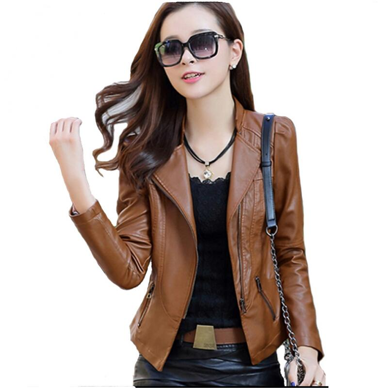 2018 New Fashion Autumn Women   Leather   Jacket Slim Outwear Casual   Leather   Jackets And Coats Women Zippers Elegant Punk Coat