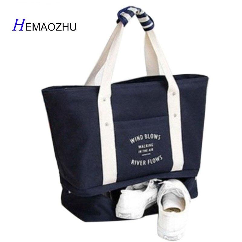 HEMAOZHU Brand New Canvas Shoulder Bag Clothing Organizer Female Handbag Ziplock Luggage Organizers Shoe Bag Travel Storage Bag Shoe Bags