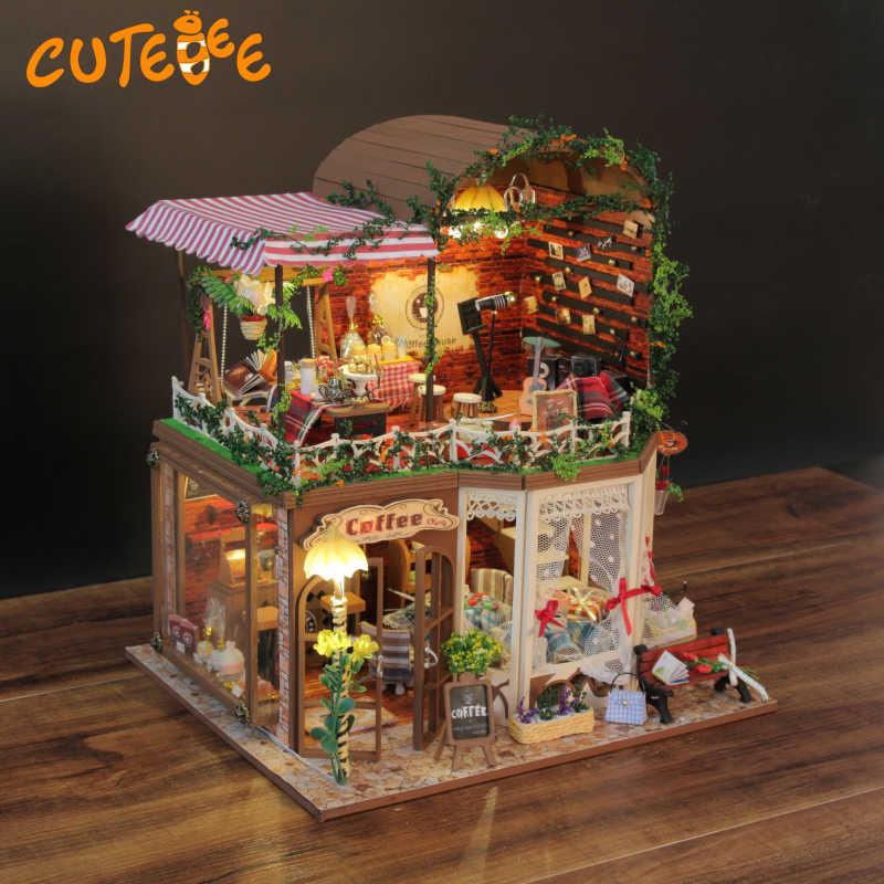 DIY Кукольный дом деревянные кукольные домики миниатюрный кукольный домик мебель комплект игрушки для детей подарок кукольные домики D-015