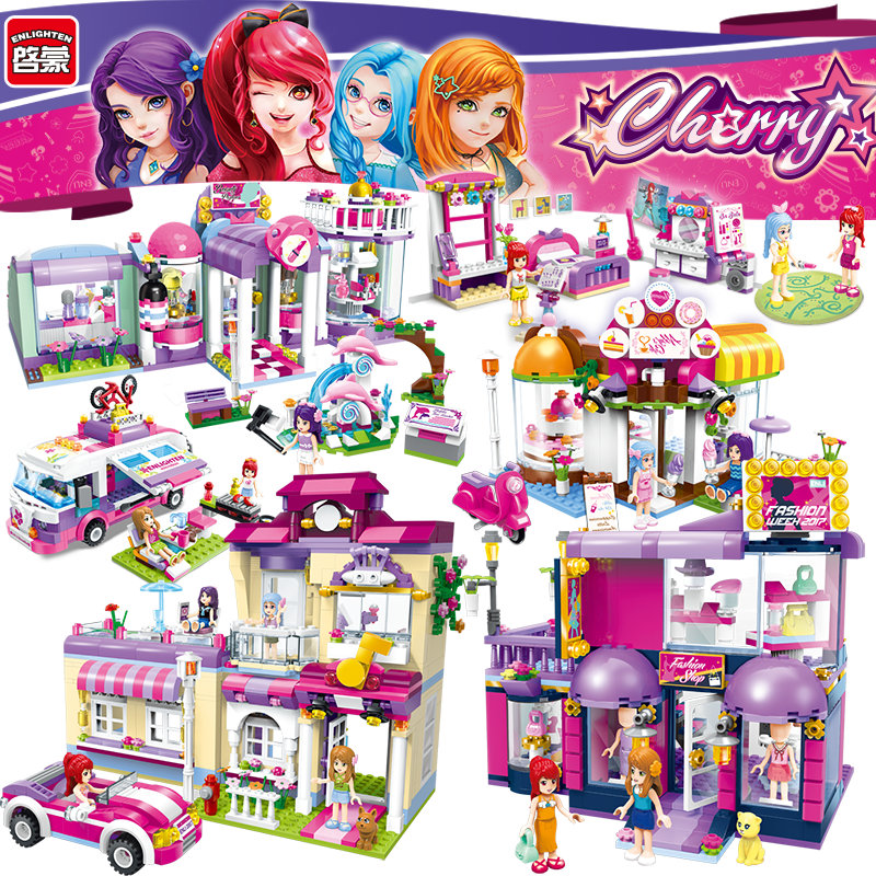 Enlighten Girls Educational Building Blocks Toys For Children Christmas Gifts City Friends Car Fashion Moana Compatible