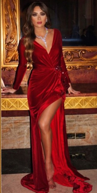Sexy Side Slit V Neck Red Carpet Long Sleeve Velvet