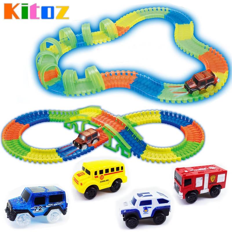 Kitoz Mega Set Racing Track Glow In The Dark Colorful Slot Led Light Car Bend Flexible Track Twist Racetrack Railway Toy For Boy