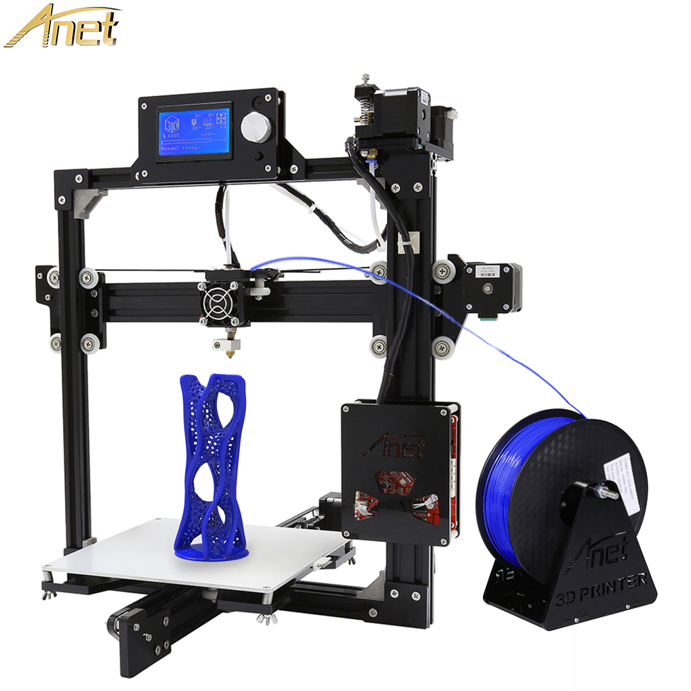 Anet A2 Metal Aluminium 3D Printer High Precision Big Size Reprap Prusa i3 DIY 3D Printer LCD12864 Screen with Filaments SD Card
