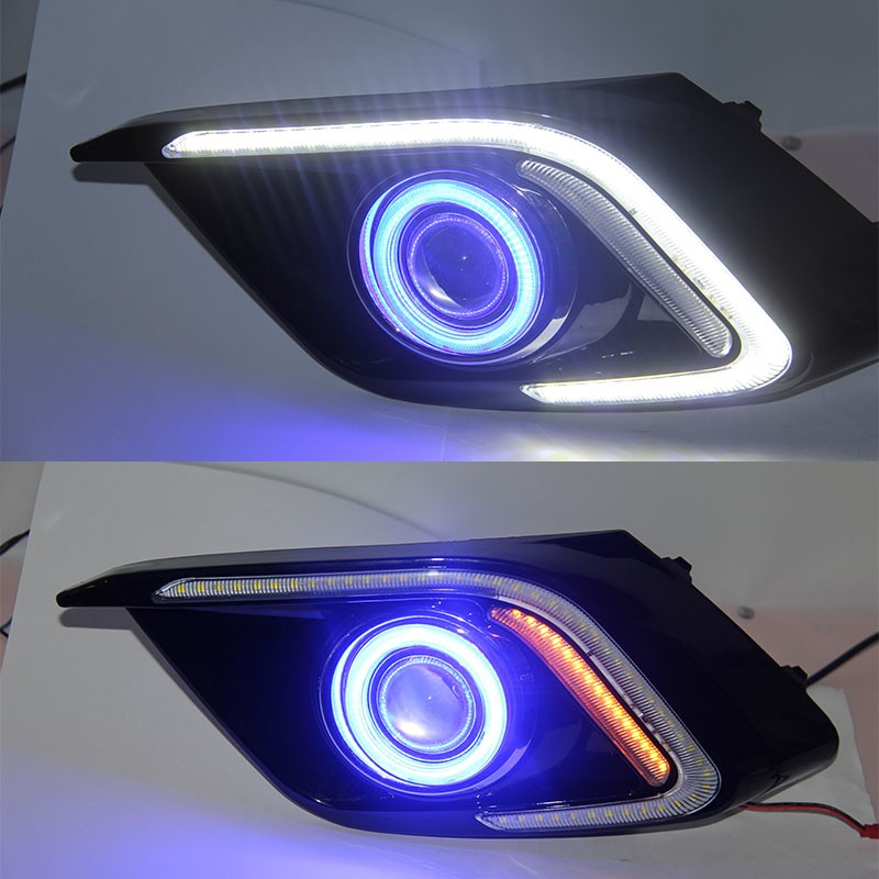 LED DRL daytime running light + COB angel eye + projector lens + halo fog lamp + yellow turn signal for mazda 3 axela 2014, 2pcs for mazda 3 axela 2014 car led drl cob angel eye projector lens halogen fog lamp daytime running lights 2pcs