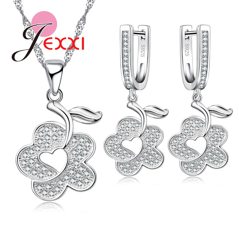 Earring-Set Cubic-Zircon Pendant Necklace Flower Crystal Woman-Accessory Heart-Shape