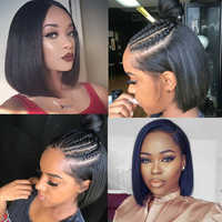 Brazilian Straight Hair For Black Women Middle Part Short Bob Wig BEAUDIVA Lace Closure Human Hair Wigs Straight Hair