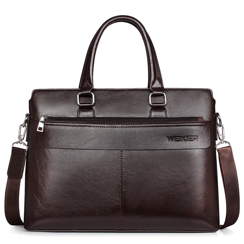 Large Capacity Men Briefcase 14 Inches Laptop Man Shoulder Bags Detachable Leather Strap Briefcases For Men  PU Leather Men Bag