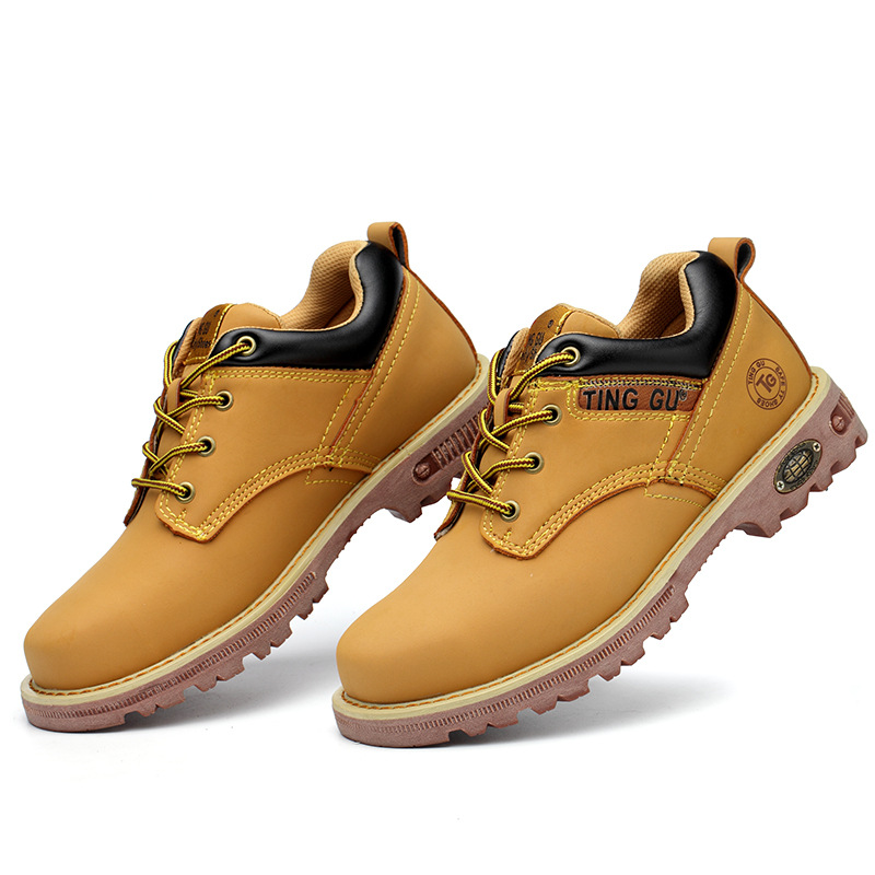 new arrival men s plus size steel toe covers work safety shoes genuine leather construction site