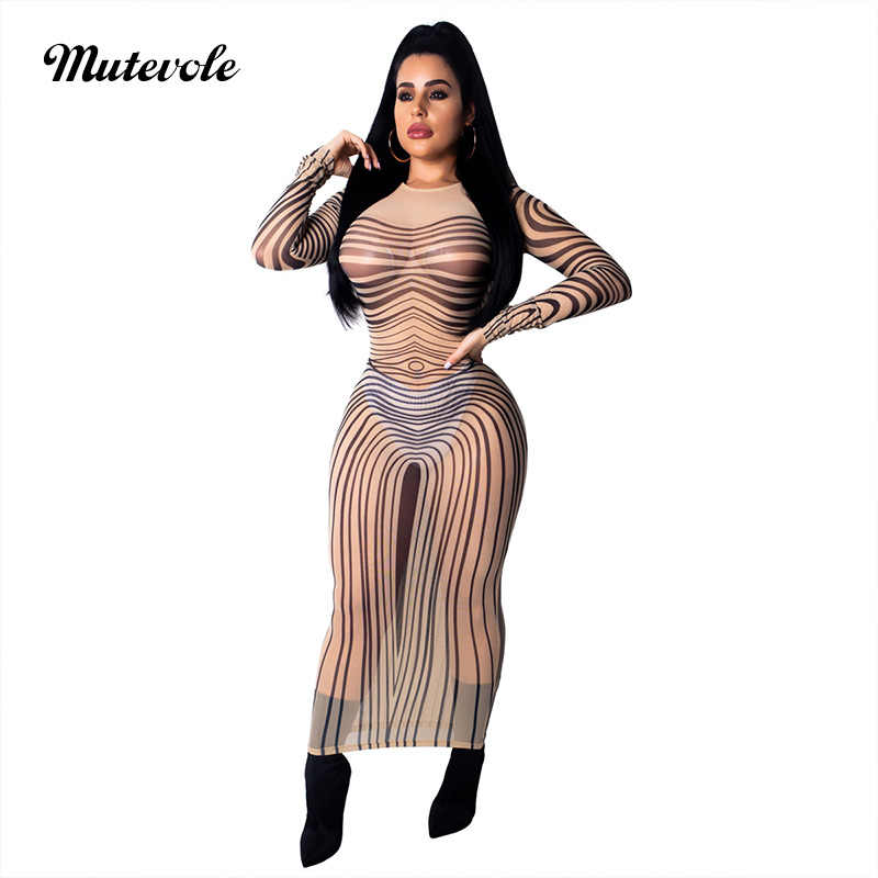 5ba1398ab7 Mutevole See Through Mesh Bodycon Striped Dress Women Long Sleeve Ankle  Length Printed Dress Transparent Slim Sexy Party Dress