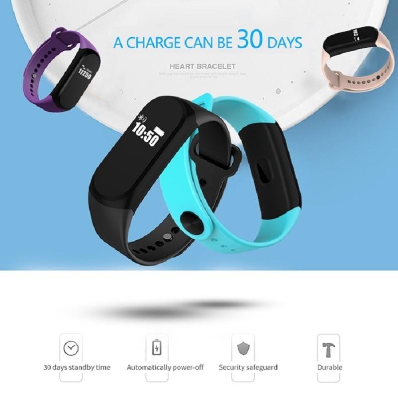 A16 Ble 4 0 ADI Sensor Heart Monitor Smart Wristband Bluetooth 4Sports Bracelet with Alarm 30