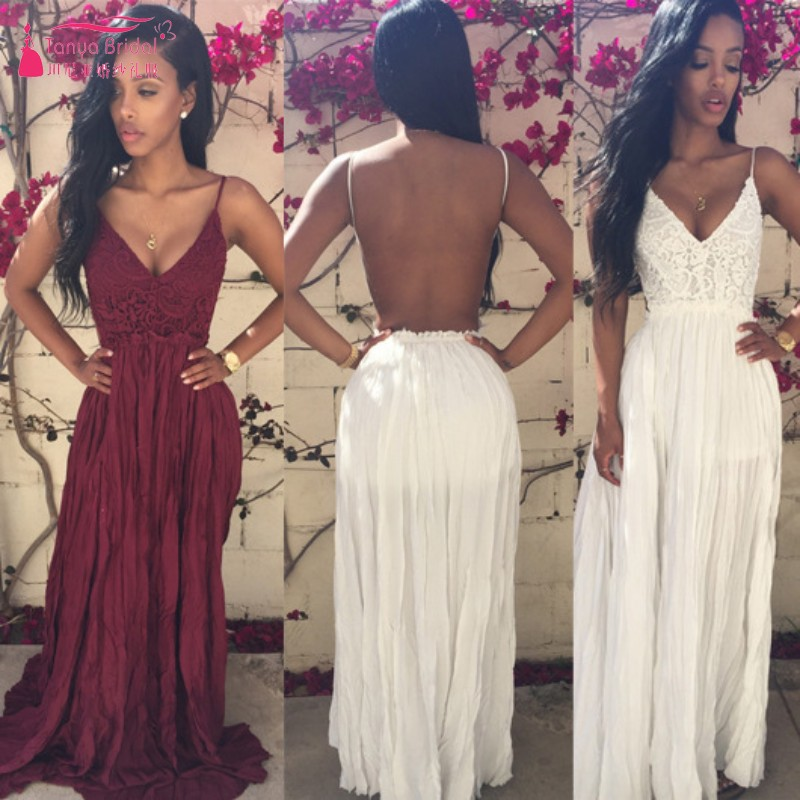 A Line BUrgundy Lace Chiffon Long   Prom     Dresses   Cheap Price Simple White Special Occasion   Dress   DQG554
