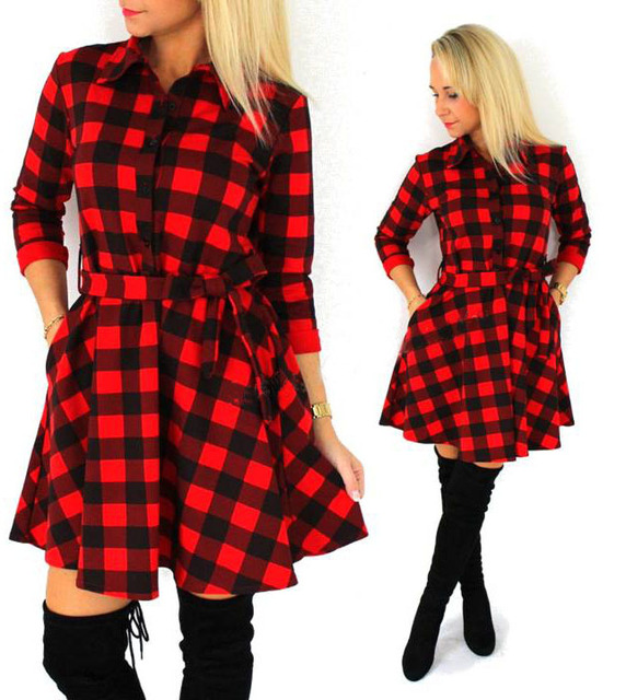 Fall Plaid Leisure Vintage Check Print Mini Dress