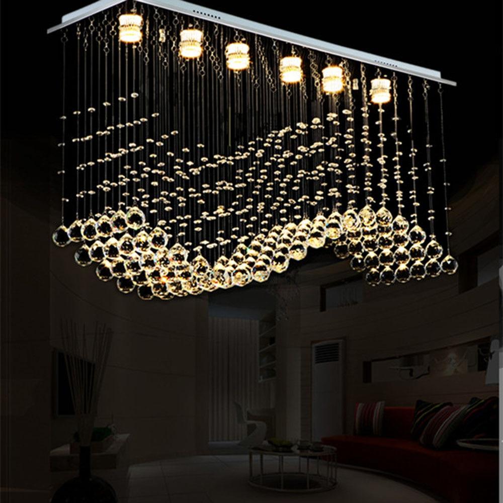 Rain Drop Contemporary Crystal Rectangle Chandelier Crystal Ceiling Light Fixture Staircase chandelier double floor chandelier