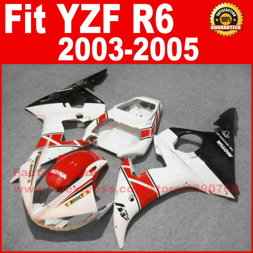 Road/racing ABS motorcycle fairings kit for YAMAHA R6 2003 2004 2005 YZF R6 03 04 05  white red fairing bodywork part auldey 88010 abs racing car kit