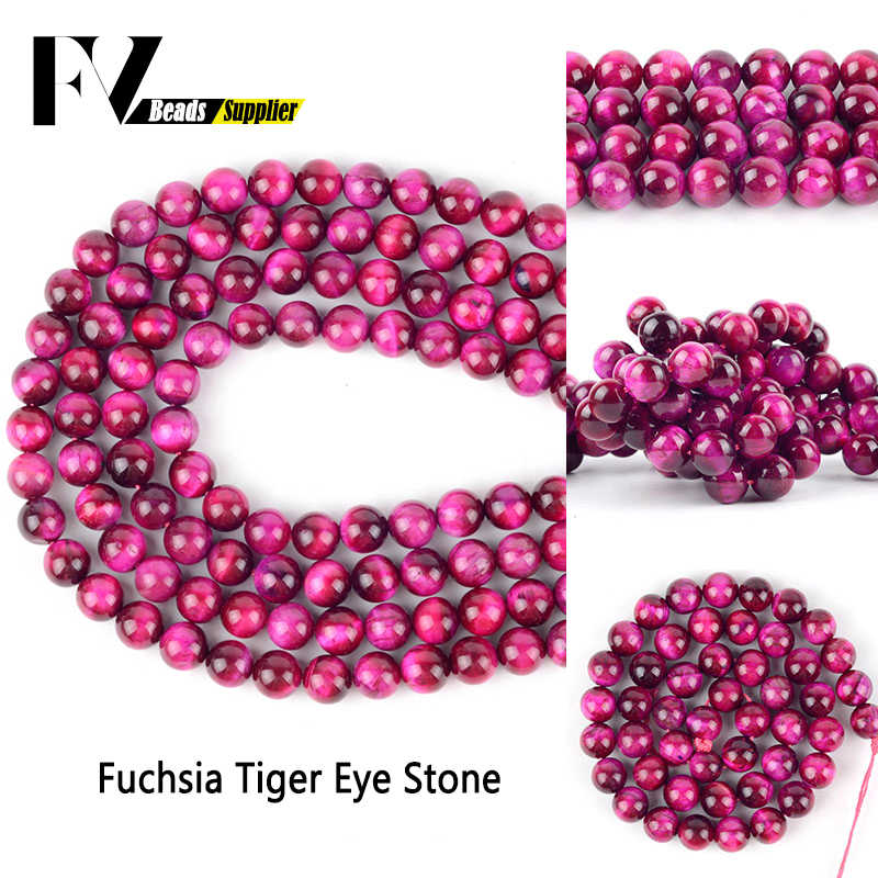 Natural A+ Fuchsia Tiger Eye Stone Minerals Round Loose Beads For Diy Jewelry Making 4 6 8 10 12mm Gem Beads Accessories 15inch