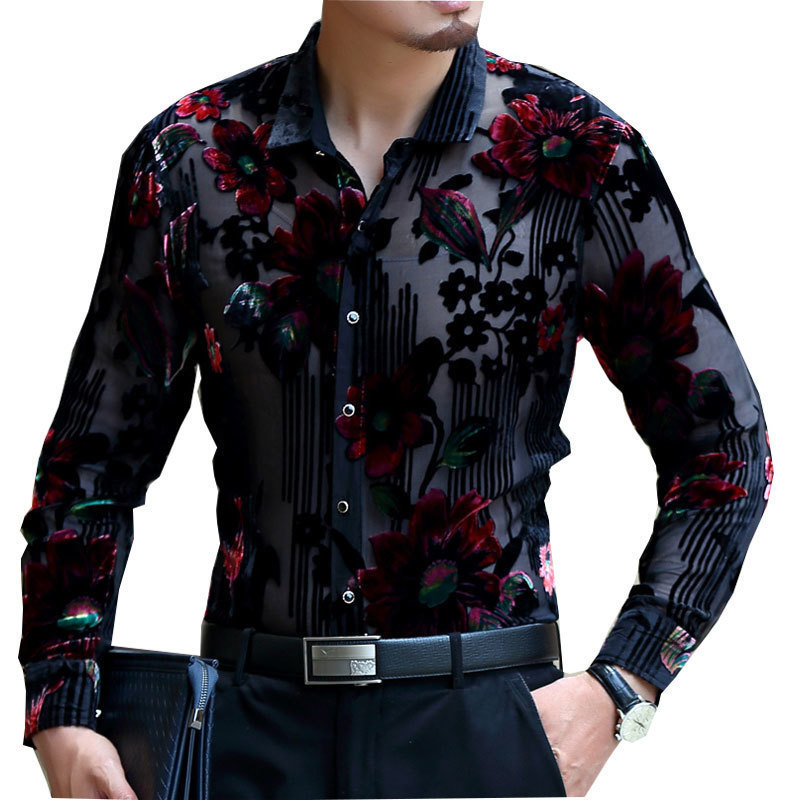 Luxury Men Transparent Shirt Club Party Prom Sexy  Male Shirt Frolal Print Wedding Marriage  Chemise Homme 4xl Lace Shirt