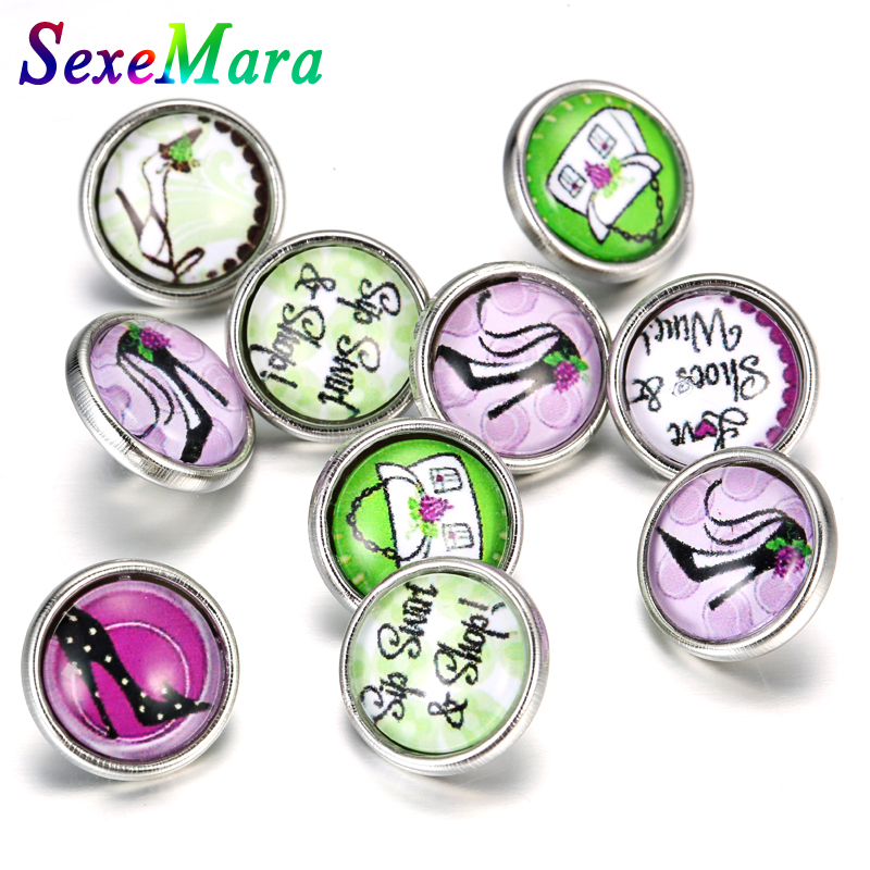 Snap Button Jewelry 20Pcs/lot Charming lady Round Glass Snap Buttons DIY 12mm Ginger Charms for Leather Bracelet NZ027*20