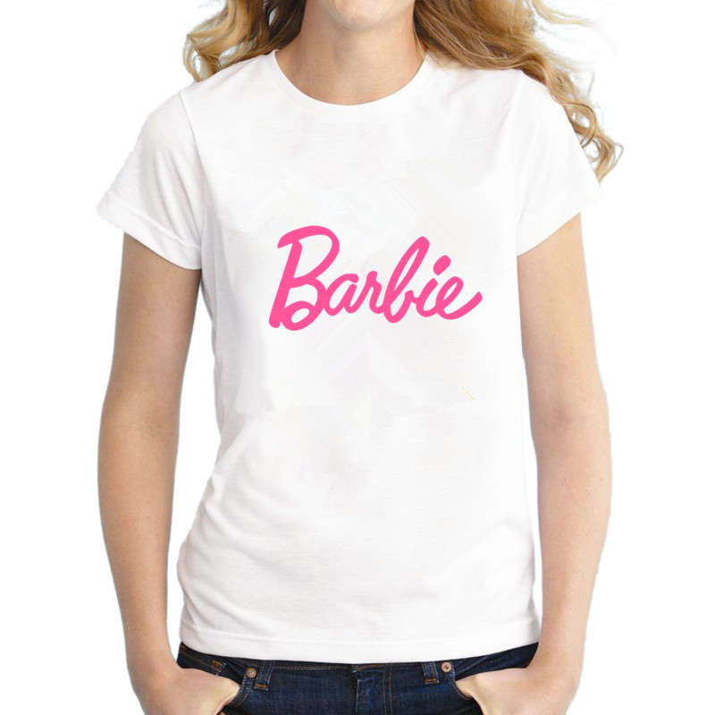 Barbie logo t shirt women cotton tops tees short sleeve o for Black barbie t shirts