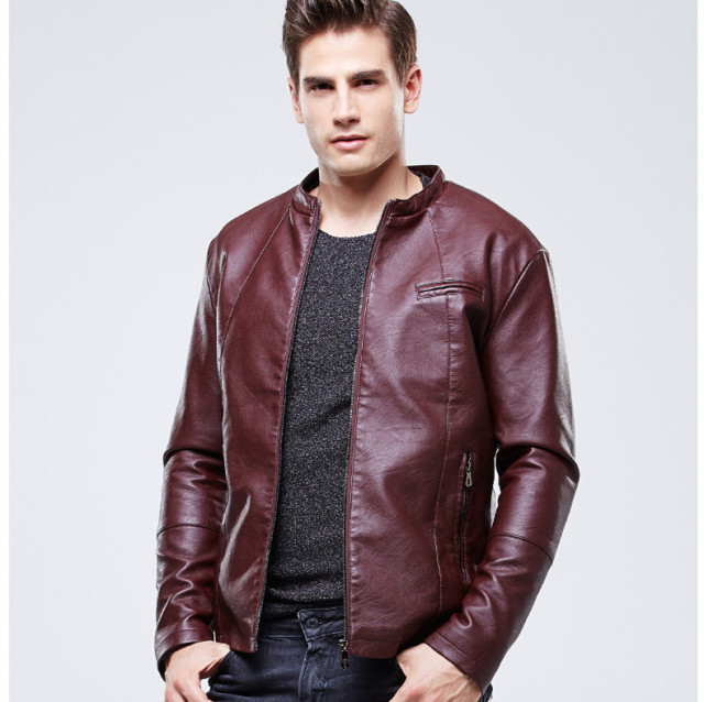 c78dfe1a20e European Style Black Brown Red Lether Bomber Jacket For Men Slim Fit Faux Leather  Jacket Mens
